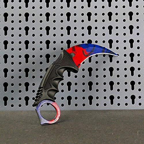 JARL - CS:GO IRL Karambit Messer Replik Doppler Fire/Ice - Counter-Strike: Global Offensive CSGO - Kollektion, Dekoration, vielseitiger Einsatz - Bequemer Fiberglasgriff - Schutzhülle