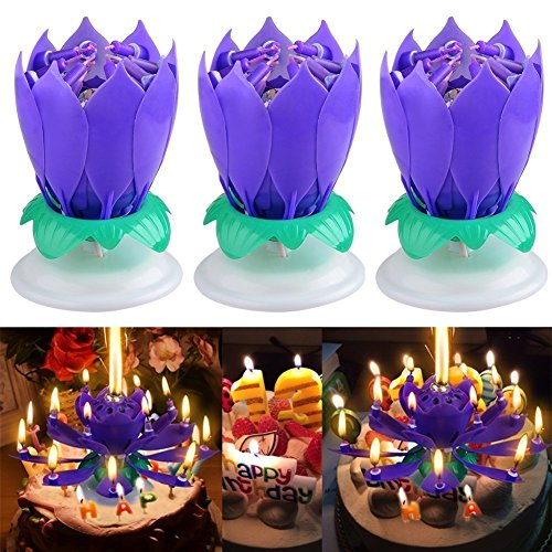 MAK NN 3PCS Set Music Birthday Candle Two Layers With 14 Small Candles Musical Lotus