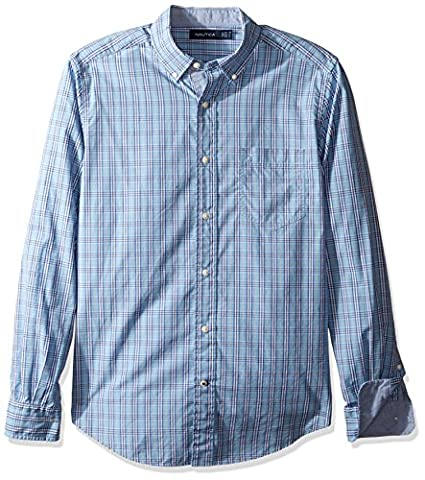 Nautica Herren Freizeithemd Plaid Classic Fit Porthole Blue, XL