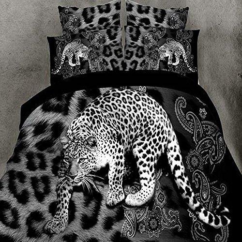 3D Leopard Print Bettbezug Tröster Doppelbett Bettwäsche Set 4