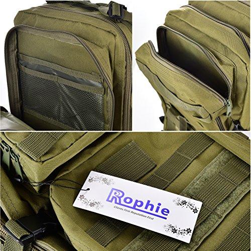 Rophie 36L NylonWasseredichte Rucksäcke Damen Herren Militärische Backpack für Camping, Freizeit, Reisen, Outdoor Wandern und weiter(Armee-Grün) Armee-Grün