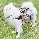 Bolsa para Sillín Perro gran capacidad conveniente, Mochila Lona de algodón para Viajes Senderismo Las correas ajustable, exterior mascota Chaqueta y Chaleco del Medianas y Grandes perro