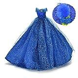 ASIV 1Pc Premium Brillant Fait Main Princesse Robe avec 1Pc Chapeau de Plumes pour Poupées Barbie Bleu
