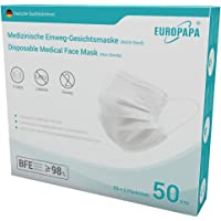 EUROPAPA® 50x Medizinisch Type IIR Norm EN 14683 TÜV CE zertifizierte Mundschutzmasken OP Masken 3-lagig Mundschutz…