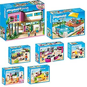 Playmobil city life 9 teiliges set 5574 moderne luxusvilla for Cuisine playmobil 5582