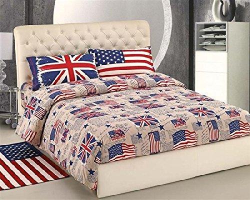 Copripiumino in Morbidissima Flanella letto SINGOLO - Bandiere USA UK Bandiera Flag - Made in Italy - Sacco Una Piazza con federa Flanellate