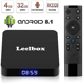 Android 8.1 TV BOX, Android Box con telecomando vocale, Leelbox Q4 RK3328 Quad Core 64 bit 4 GB RAM 32 GB ROM Smart TV BOX, Wi-Fi integrato, Uscita HDMI, Box TV UHD 4K TV (4+32G)