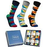 Vkele 6 Paar einfarbige Socken Geschenkpack oder Bulk, kariert, bunt, punkte, gestreift, Business Herrensocken, Crew Socken, Baumwolle, Gr. 39-46