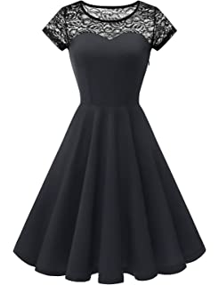 YOYAKER Damen Sommerkleid Kleid Vintage Retro Schulterfrei Spitzen Kurzarm Brautjungfernkleider Cocktail Party Abendkleider