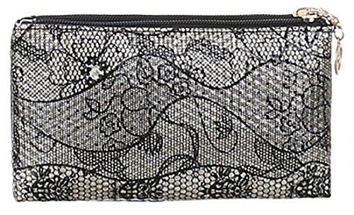 MYWY - Pochette donna motivo floreale bianco nero oro vernice borsa donna elegante borsetta casual oro