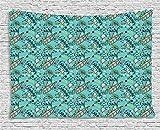 qinghexianpan Surfbrett Stickset, tropischen Zusammensetzung Cocktail Eis Floral Elementen und Schriftzug zum Aufhängen, für Schlafzimmer Wohnzimmer Wohnheim, 60W x 40L Zoll, Türkis Multicolor 80