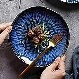 Assiettes à Dîner en Céramique Assiettes à Salades Bleues Grandes Assiettes Ovales Assiettes à Déjeuner en Porcelaine Créativ