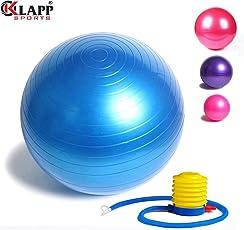 Klapp Gym Ball with Foot Pump, Anti-Burst Gym Ball, Colour May Vary