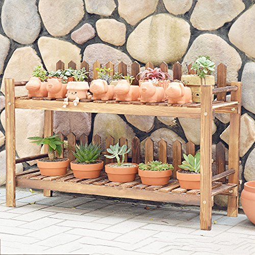Blume stehen holz Pflanze-ständer,Einfache Vintage Frei stehende blume rack Pflanzen stehen display Multi-layer Massivholz Holz-konservierungsmittel Sukkulenten Regale Perfekt für zu hause Garten Terrasse-E (Klar, Holz-konservierungsmittel)