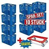 Spar-Set: 10x Stapelkorb, Euro-Format 600 x 400 x 410 mm, Industriequalität, lebensmittelecht, blau + GRATIS Transportroller