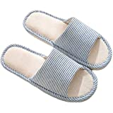 AioTio Women's and Men's Cotton Flax Casual Soft Light Open Toe Slippers Comfortable and Breathable House Slippers Anti-Slip
