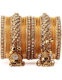 Traditional Shining Bangle Jhumki Bangle Set For Two Hands By Leshya Golden
