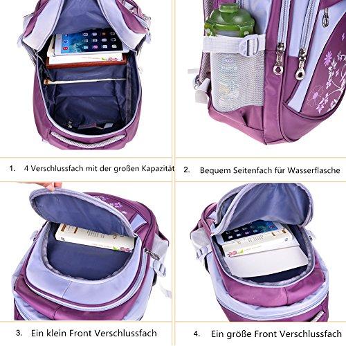 Leefrei Schulrucksack Schulranzen Schultasche Sports Rucksack Freizeitrucksack Daypacks Backpack für Mädchen Jungen & Kinder Damen Herren Jugendliche mit der Großen Kapazität (Lila-Blume) - 6