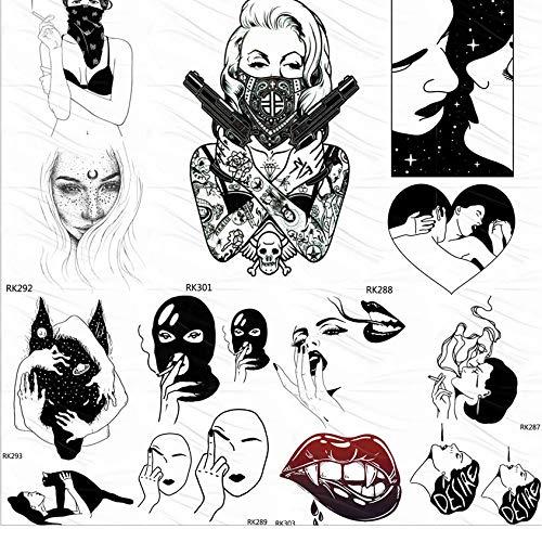 Kostüm Katze Gangster - yyyDL Punk Gangster Waffe Schwarz Temporäre Tattoos Aufkleber Fake Tattoo Liebesräuber Benutzerdefinierte Tatoos Für Frauen Mädchen Körperkunst 10 * 6 cm 7 stücke