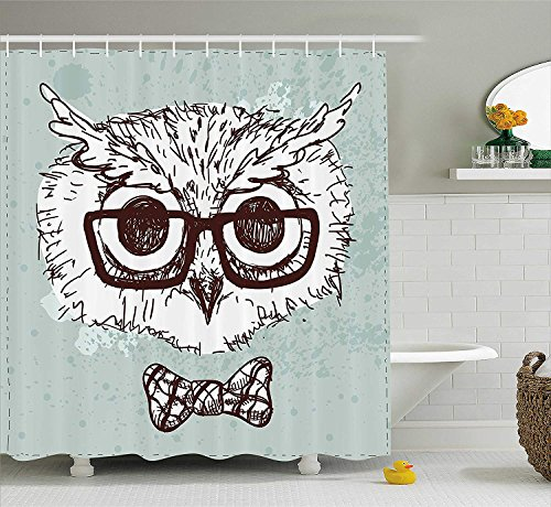 KRISTI MCCARTNEY Owl Shower Curtain, Hand Drawn Hipster Geek Bird with Glasses Bow Tie Fun Doodle Sketch, Fabric Bathroom Decor Set with Hooks, 84 inches Extra Long, Almond Green White Dark Brown