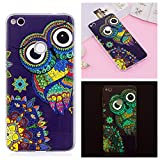 Coque Huawei P8 Lite 2017 / Honor 8 Lite , LH Hibou Fond Bleu Fluorescence Silicone Doux TPU Case Cover Housse Etui pour Huawei P8 Lite 2017 / Honor 8 Lite