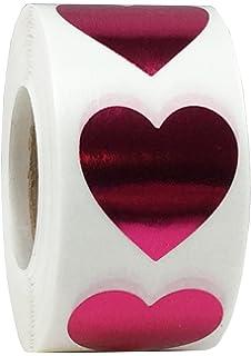 25 mm 1 Pollice Etichette Brillanti per San Valentino 500 Pacchetto Rose Metalliche Adesivi a Cuore
