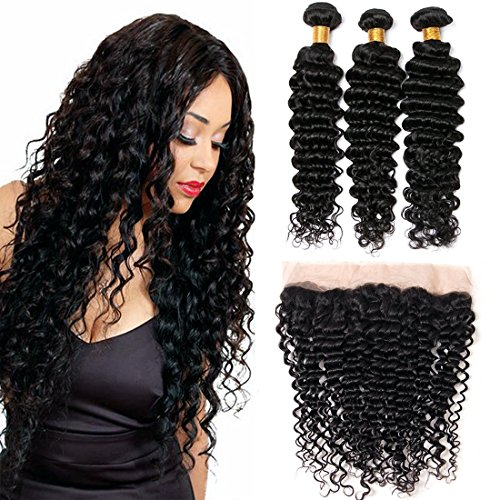 Lace Frontal Closure 13x4inch Brazilian Hair With 3 Bundles Deep Wave Brazilian Hair Bundles Silkylong Hair 100% Unprocessed Human Hair 22 24 26 +16 Frontal