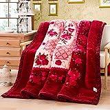 Rollsnownow Couvertures florales de Raschel de modèle de vin rouge épaississant Couverture de corail de couverture de printemps et d'automne d'hiver