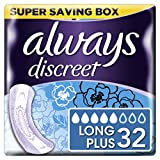 Always Discreet Incontinence Pads+ Long Plus for Sensitive Bladder, 2 x 16 Count - Super Saving Box