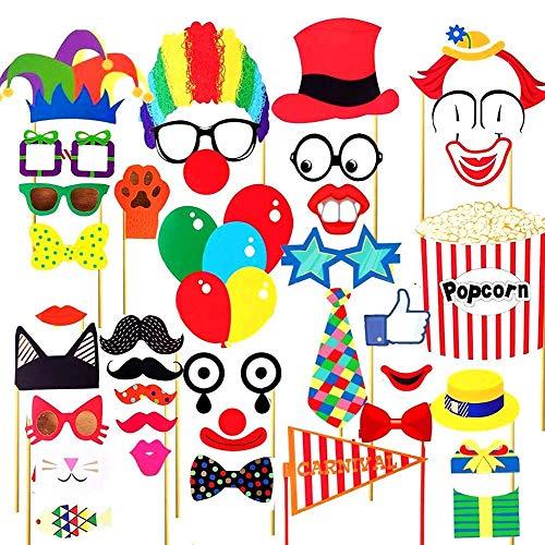 Booth Reps Selfie Bunte Foto-Requisiten Party Favors for Circus Hochzeit Geburtstag Karneval Bachelorette Kleid Party Dekoration 44 Stück ()