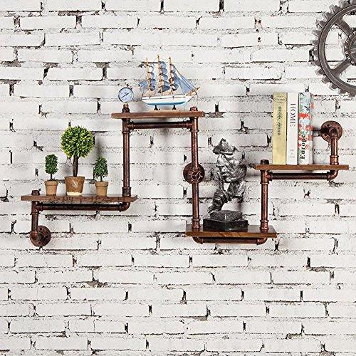 Étagère murale créative rétro étagères industrielle vent étagère en fer tuyaux de fer étagères en bois massif (Color : Brown)