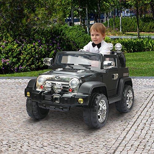 RC Auto kaufen Kinderauto Bild 2: HOMCOM Elektroauto Kinderauto Kinderfahrzeug Kinder Elektro Auto Fahrzeug Spielzeug (Jeep/schwarz)*
