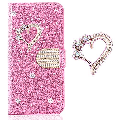 Ansehnliche Modisch BookStyle für Huawei P30,Funkeln Bling Glitzer Diamant Slim Hülle Leder Bumper Flip Folio Wallet Stand Card Slots Pocket Etui
