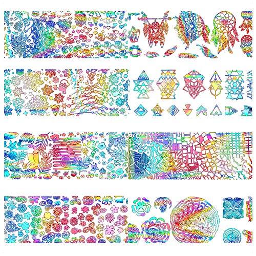8X/SET Westeng 3D Pegatinas de Uñas Calcomanías Nail Art Estampado de Oro y Plata Atrapasueños Guías de Clavar Tip Pegatinas Manicura uñas Decoración para Decal DIY