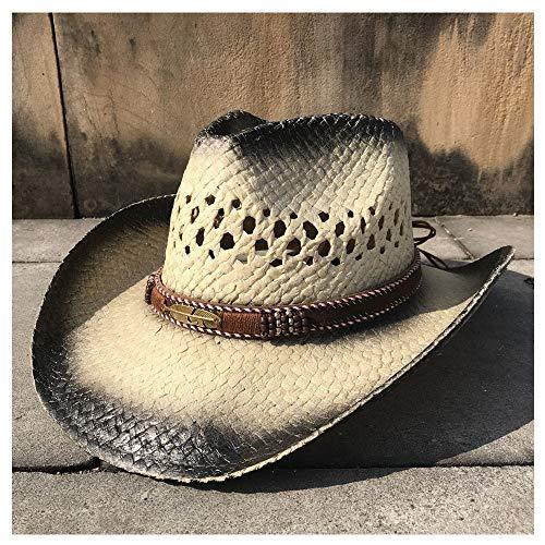 PANFU-DY Cowgirl Fedora Hut Damen Herren Sommer Stroh Strand Sonnenhut Cowboy Western Hohl Quaste Sombrero Hombre Rettungsschwimmer Hüte (Farbe : 3, Größe : 56-58CM)