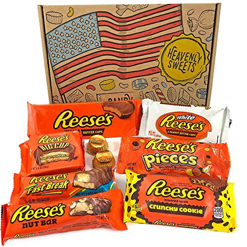 Reeses Geschenkkorb aus USA | Peanut Butter und Schokolade | Auswahl beinhaltet Peanut Butter Cups, Pieces, Nut Bars, Miniatures | 9 Produkte in einem kleinen retro Süßigkeitenkorb -