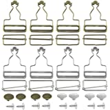 8 Sets Metal Brace Buckles Dungaree Buckles with Rectangle Slider Fasteners for Suspender, Straps, Dungarees, Hand Bags, Jack