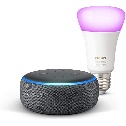 Echo Dot (3ª gen) - Tessuto antracite + Lampadine intelligenti a LED Philips Hue Color, compatibili con Bluetooth e Zigbee (non è necessario un hub), compatibile con Alexa