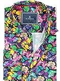 Barbons Freizeit Hemd Herren Technologie - Digital Print - Langarm Hawaiihemd Bügelfrei Mehrfarbig Modern Fit Blumen Gelb Grün Pink Muster 2XL