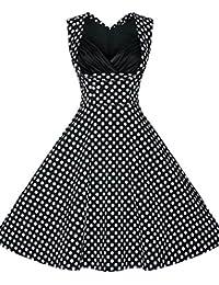 U-shot Vestido para mujer, diseño vintage con lunares, de los 50, Rockabilly, para picnic, cóctel, fiesta o baile