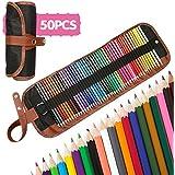 A-szcxtop 50pcs arte colorantes Penciles con bolsa de lápiz y sacapuntas, varios colores para adultos Libros para Colorear Dibujo Escritura Dibujo Doodling