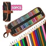 A-szcxtop 50PCS Art coloranti Penciles con astuccio e temperino colori assortiti per libri da colorare disegno scrittura schizzi scarabocchiare
