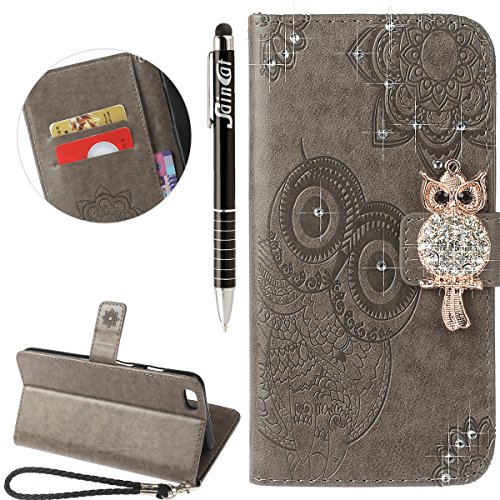Coque iPhone 6, iPhone 6S Coque Portefeuille, SainCat Ultra Slim Flip Cover pour iPhone 6/6S, Bling Bling Glitter Strass Diamant Bookstyle Etui en PU Cuir Coque Etui Cuir Anti-Scratch Cover Coque Cuir Gris