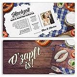 Hochzeitseinladungskarten (50 Stück) #) Frühschoppen Feier O'zapft is! Oktoberfest Bier Bayern Hochzeitseinladungen Karte gestalten | Inkl. Druck Ihrer persönlichen Texte