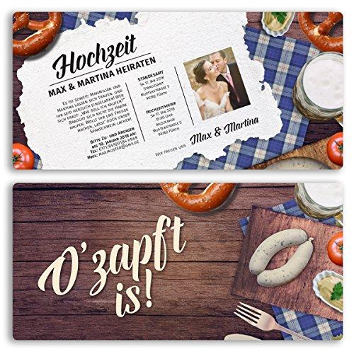 (60 x) Hochzeitseinladungskarten Frühschoppen bayrisch Einladungskarten Hochzeit