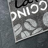 Teppich Modern Flachgewebe Sisal Optik Küchenteppich Küchenläufer Coffee Grau Weiss Schwarz Töne – VIMODA, Maße:60×100 cm - 3
