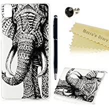 bq Aquaris E5 HD Funda Transparente Plástico PC Case(No para 4G LTE) - Mavis's Diary® Funda para móvil Carcasa Resistente a los Arañazos Diseño de elefante + 1x Lápiz óptico + 1x Tapón Antipolvo