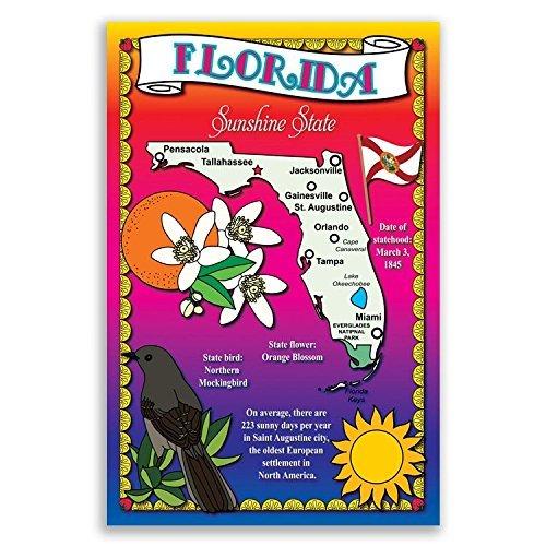 Florida State Karte-Postkarten-Set von 20identische Postkarten. Post Karten mit Fl Karte und State Symbole. Hergestellt in den USA.