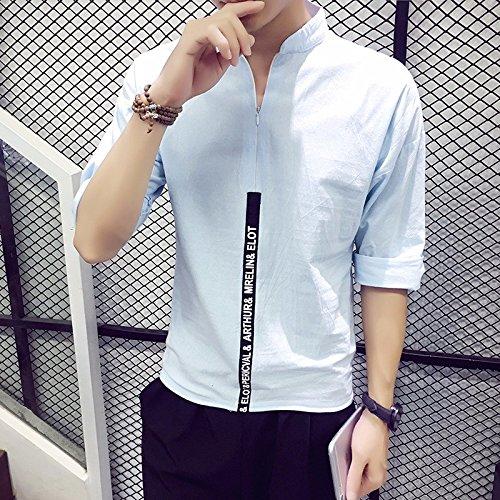 La Moda Maschile _ Sette Manica In Cotone Camicia Manica Blue