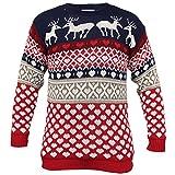Herren Pullover Weihnachten Neuheit Strick Rentier Winterpullover Neu - Marineblau - MANREIN, L